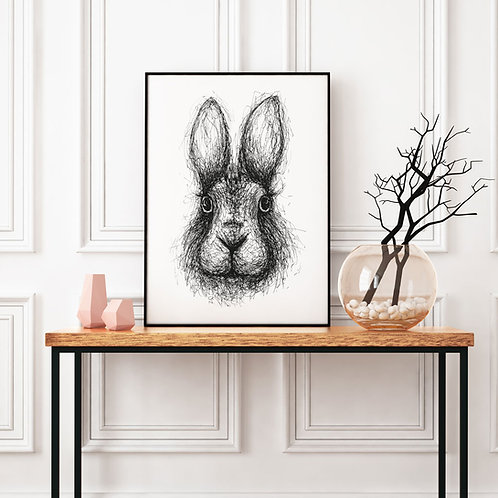 hand-drawn black and white scribble illustration print of a rabbit