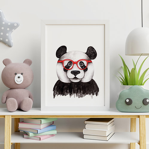 salt and ink illustration print of a panda wearing red glasses