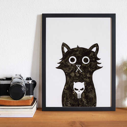 hand-drawn salt and ink illustration print, depicting a cute cat with the Punisher skull on his chest