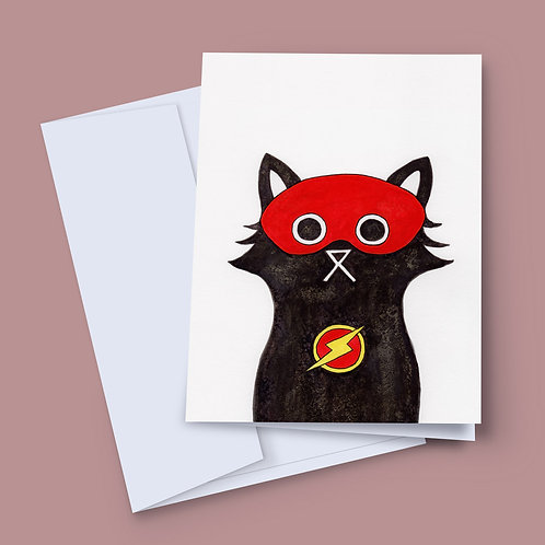 A 7x5 inch greeting card featuring an ink and salt black cat illustration wearing Flash's mask and lightning bolt