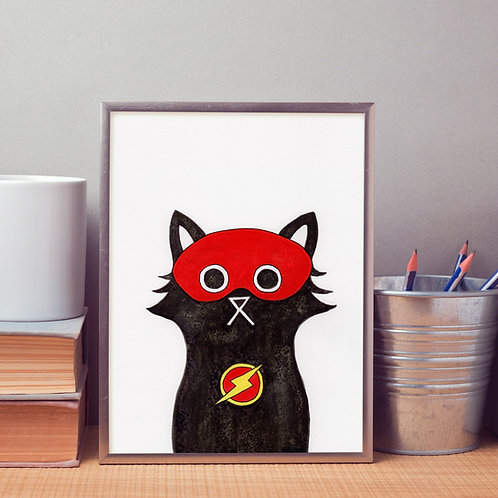 hand-drawn salt and ink illustration print, depicting a cute cat with the Flash mask and symbol on his chest