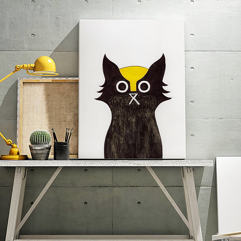 hand-drawn salt and ink illustration print, depicting a cat dressed as Wolverine with a bright yellow mask
