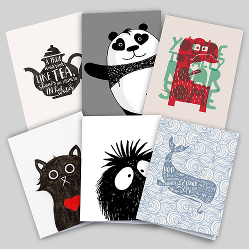 Greeting cards 6 pack of popular designs, featuring Warrior Tea, Photobombed, Roarsome, Love Cat, Peekaboo, Tide Will Turn