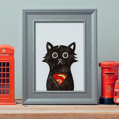 ink and salt black cat illustration print, wearing the superhero, Superman's chest badge logo