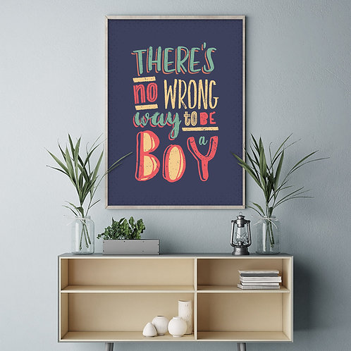 a typographic illustration print, using different font styles in pink, turquoise and yellow, on a blue background