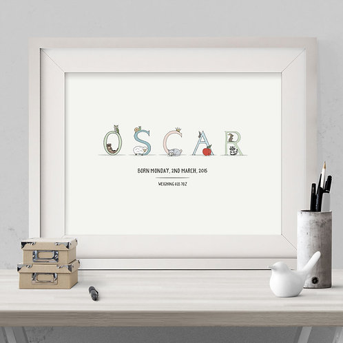 personalised hand-drawn alphabet name illustration print, using unique character illustrations for each letter