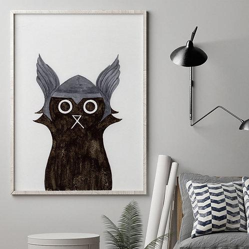 ink and salt black cat illustration print, wearing the superhero, Thor's helmet