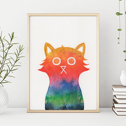 a hand-illustrated cat painted in all the colours of the rainbow