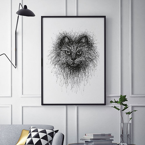 hand-drawn black and white scribble illustration print of a cat