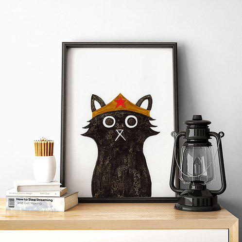 ink and salt black cat illustration print, wearing the superhero, Wonder-woman's helmet