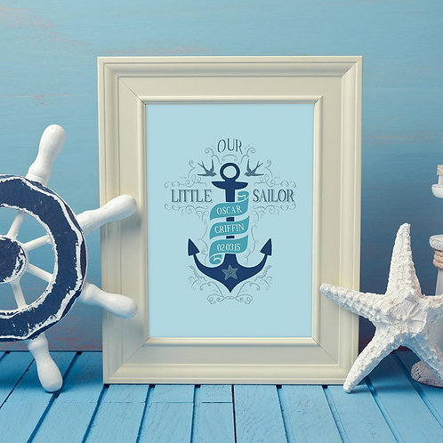 children's illustration print, with a sea theme, showing an anchor and the kids name and date of birth, in blues