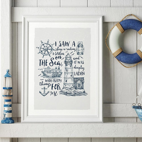 a nautical-themed typographic illustration print, featuring a nursery rhyme and nautical illustrations