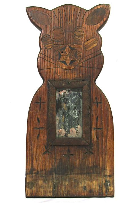 Tramp Art Cat Mirror
