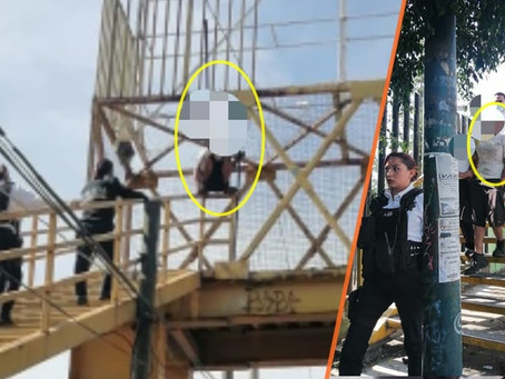 Policías de Morelia impiden que joven se suicidara desde un puente peatonal del Periférico