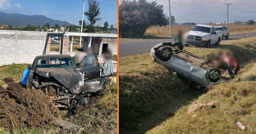 Dos heridos tras choque vehicular esta mañana en la Morelia-Pátzcuaro (+Fotos)