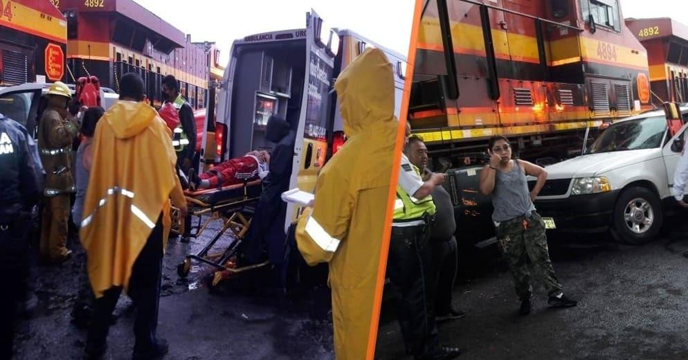 Seis personas lesionadas y fuera de peligro saldo de choque entre camioneta y tren en Morelia-Fotos