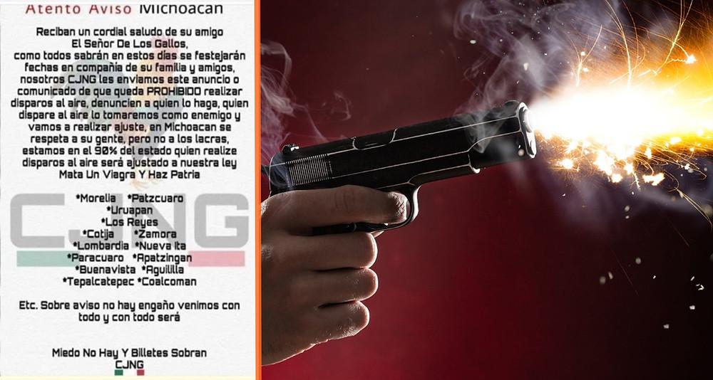 CJNG amenaza a no dar disparos al aire en estos municipios de #Michoacán