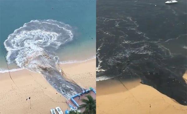 #Asco: Momento en que arrojan aguas negras a mar de Acapulco (+Video)
