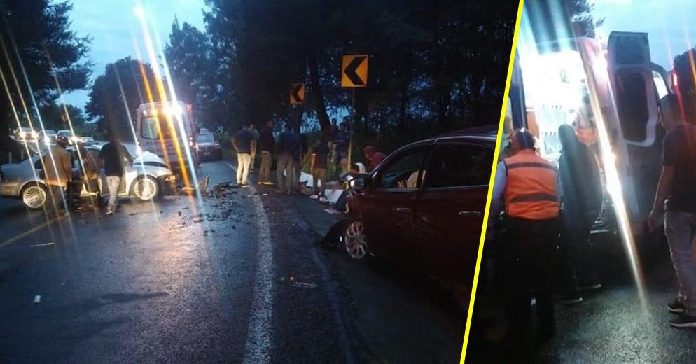 5 lesionados tras choque entre dos autos en la carretera Pátzcuaro - Uruapan (+Fotos)