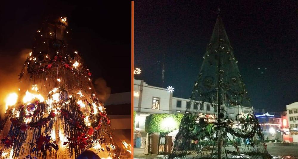 Se les quema el monumental árbol navideño en Zitácuaro