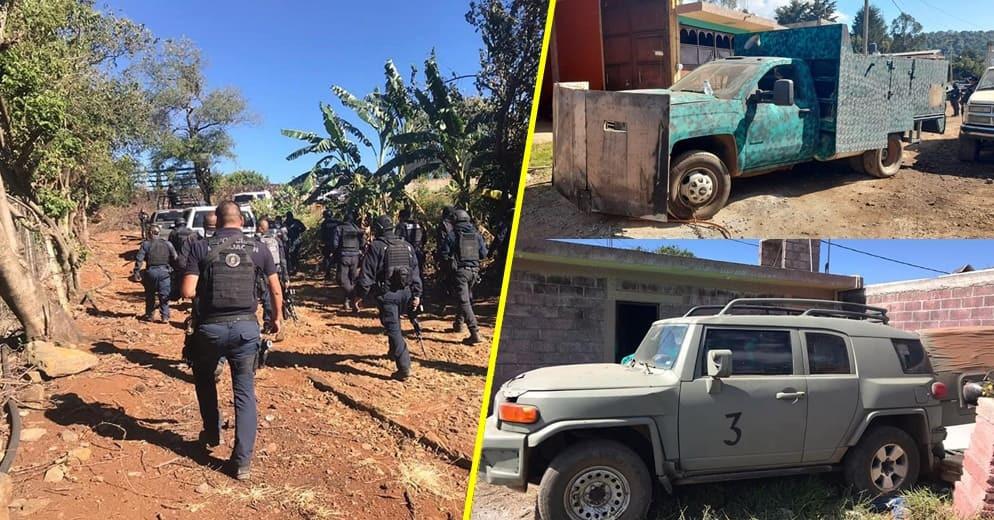 Aseguran 24 vehículos, 2 contenedores, 6 personas y un arma en Salvador Escalante