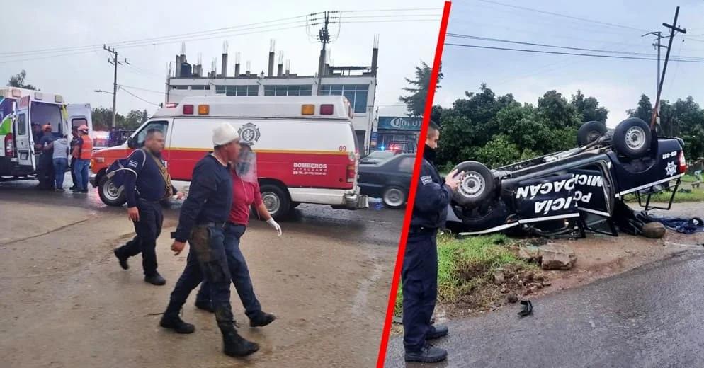 Pick up de la policía choca con Chevy y se voltea dejando 2 civiles muertos; datos, causas y fotos