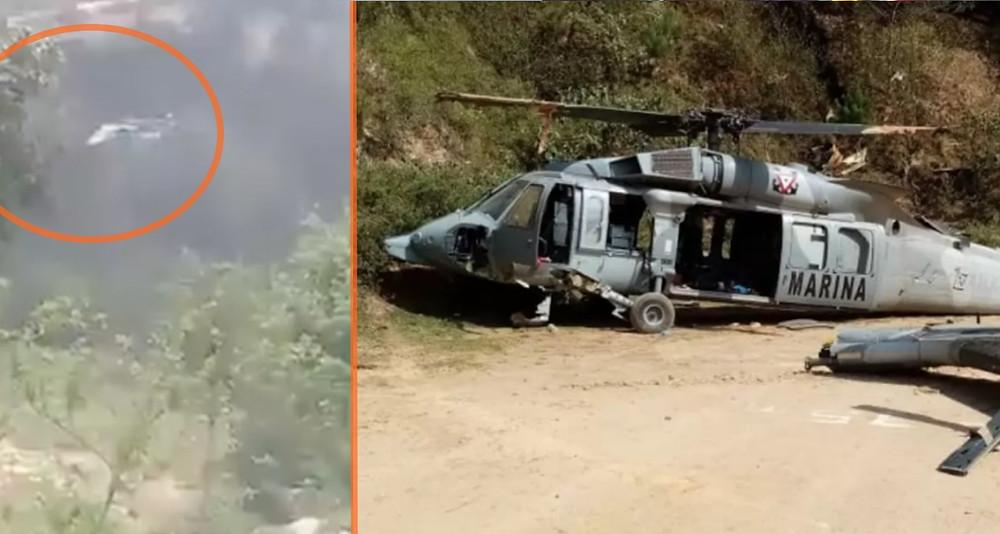 Difunden momentos en que Black Hawk de la #SEMAR se desploma en Veracruz