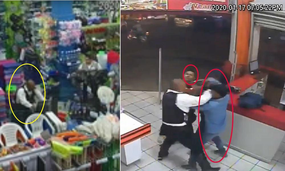 Difunden videos del momento en que un policía es asesinado tras frustrar asalto en minisúper