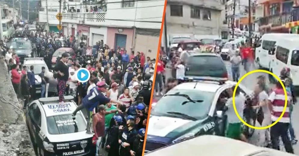 Momento en que detenido desarma a policía y hiere a joven en Cuajimalpa (+Videos)