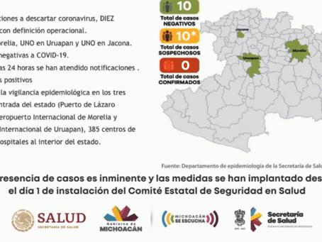 Michoacán amanece con 4 casos de coronavirus; 3 en Morelia y 1 en Lázaro Cárdenas
