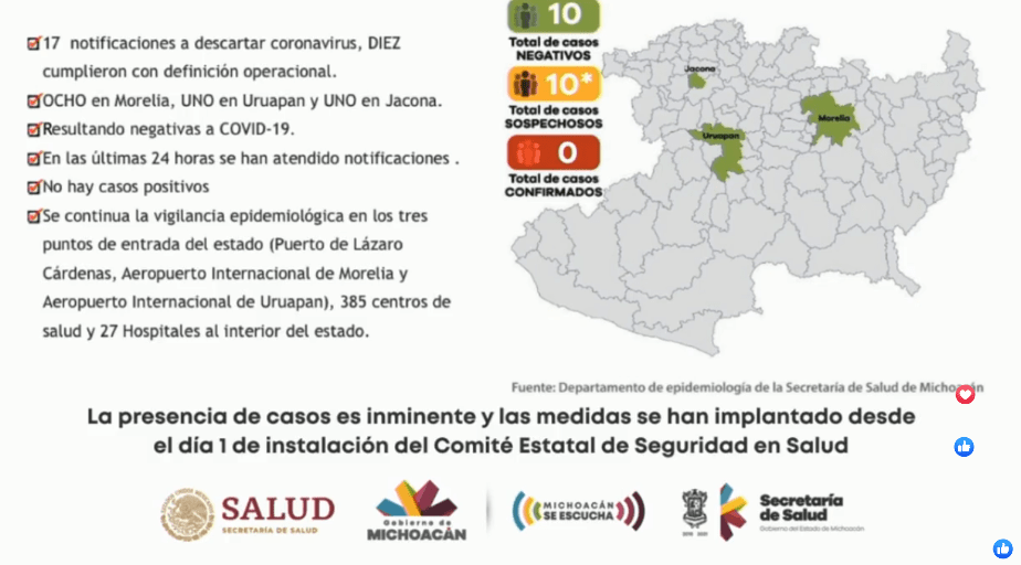 #Michoacán | 🚨 Lo acaba de informar el gobernador del estado en una rueda de prensa que se realiza en estos momentos en Casa de Gobierno
