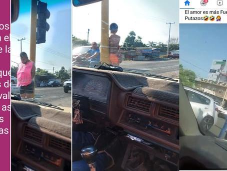 #PasaEnMichoacán: Los amarran de un semáforo por golpear a sus esposas (+Fotos)