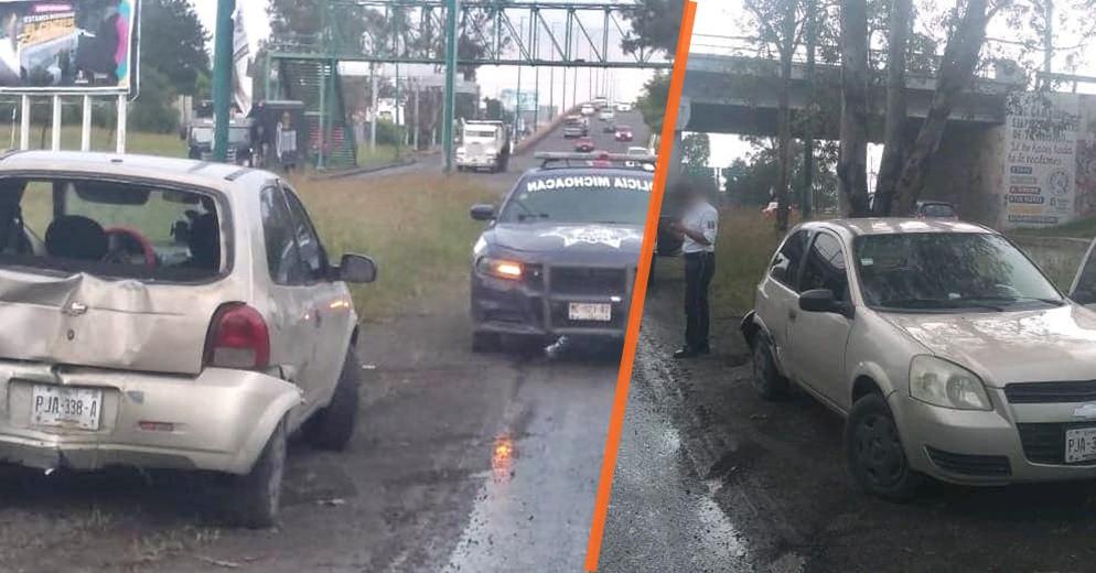 #Morelia: Choca su Chevy en las inmediaciones del Estadio Morelos por evadir charco de agua