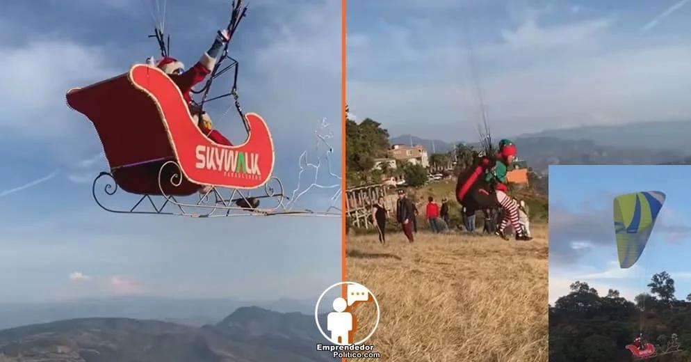 Santa Claus ya llegó a Michoacán; vuela sobre Charo con su trineo (+Video)