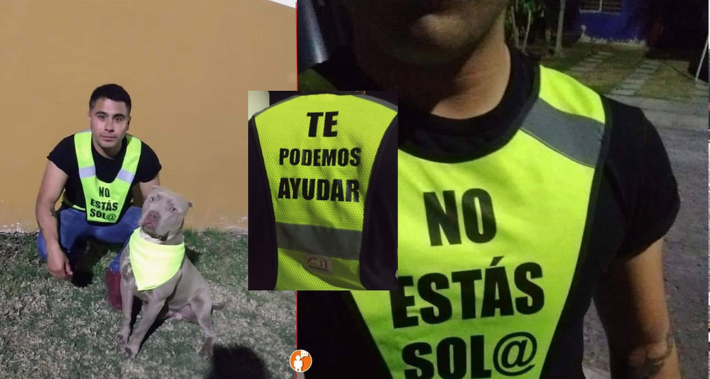 """Moreliano y su perro pitbull """"Igor"""" ofrecen ayuda aquellos que se sientan en situación de peligro"""