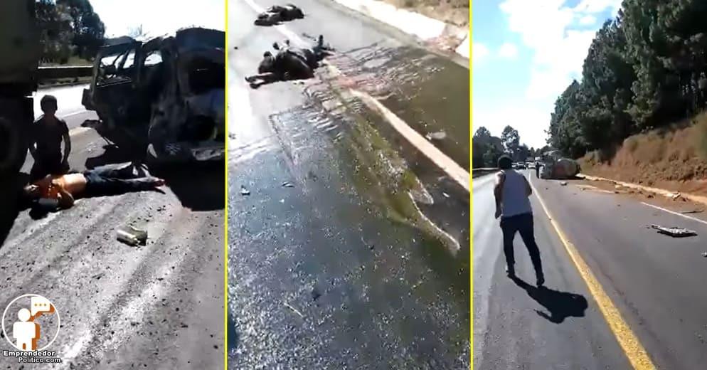 En la Siglo 21 Pipa se impacta con camioneta donde viajaban cortadores de aguacate (+Video)