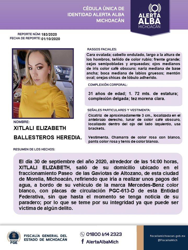 De acuerdo al reporte 183/2020 de Alerta Alba, Xitlali de 31 años salió de su domicilio ubicado en el Fraccionamiento Paseo de las Gaviotas de Altozano a las 14 horas del miércoles 30 de septiembre para realizar unos pagos del OOAPAS,