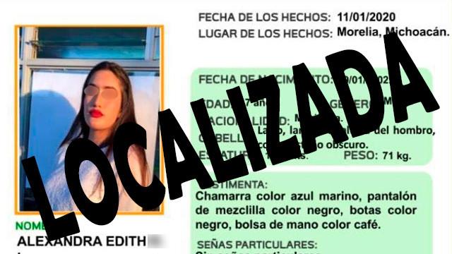 Localizaron a moreliana desaparecida; Andaba en Tacámbaro.