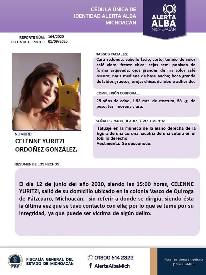Celenne estuvo tres meses desaparecida; la hallan en forense de Michoacán