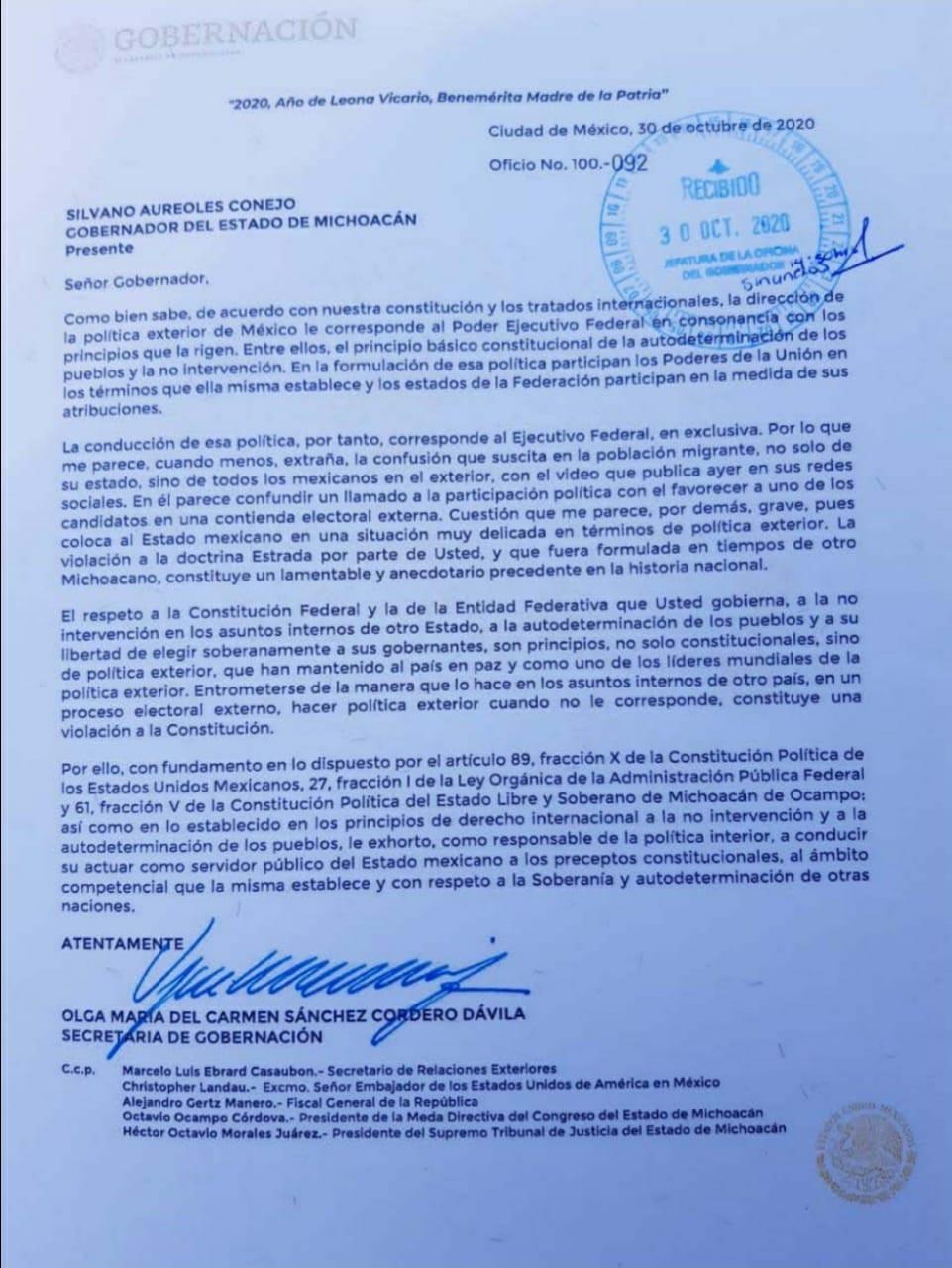 Secretaría de gobierno regaña a Silvano por violentar política exterior de México