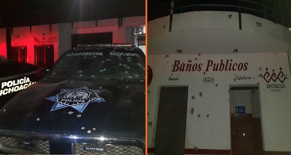 Civiles armados atacan a comandancia de la Policía Michoacán en Epitacio Huerta (+Fotos)