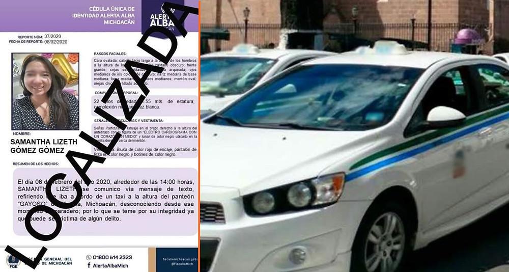 Moreliana Nicolaita con Alerta Ambar localizada ayer, presuntamente fue agredida por taxista