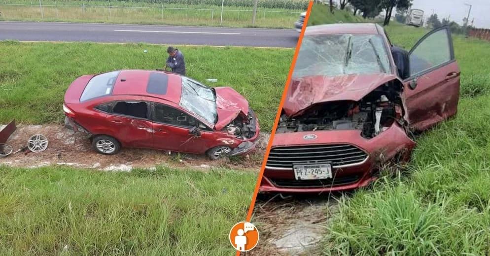 Se le poncho la llanta mientras circulaba esta mañana en la carretera Morelia-Pátzcuaro y volcó
