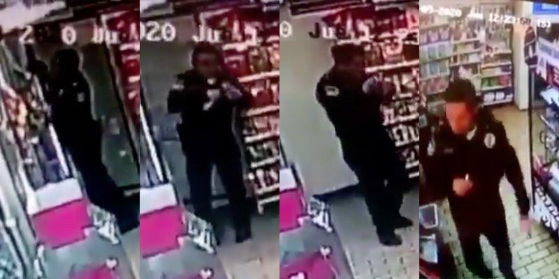 VIDEO: Captan el momento en que policía roba tienda en CDMX