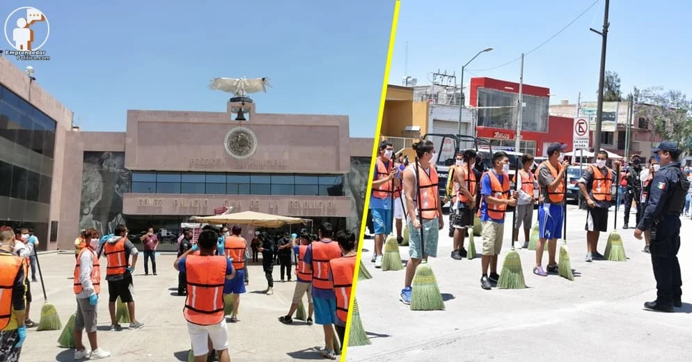 #PasaEnMéxico: Por violar cuarentena ponen a jóvenes a barrer las calles