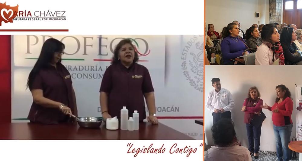 Diputada María Chávez y Profeco ofrecen talleres para elaborar gel antibacterial a jefas de familia