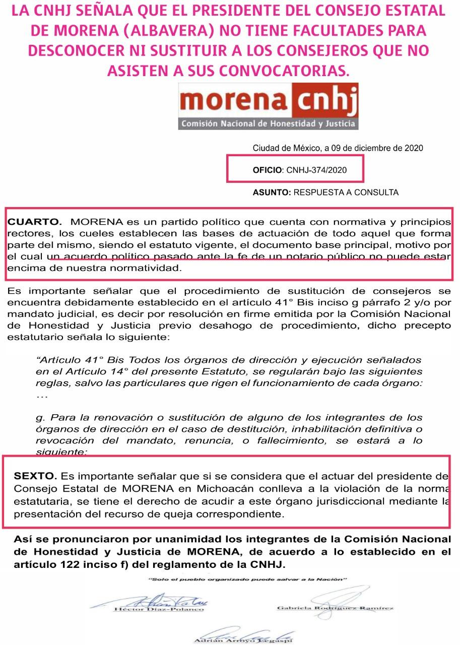 """CNHJ regaña al CEE Michoacán; """"No tiene facultades para decidir alianzas ni sustituir consejeros"""""""