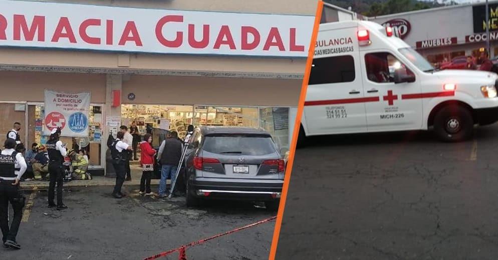 #Morelia: Se le acabó el camino y se estampó con la fachada de una Farmacia