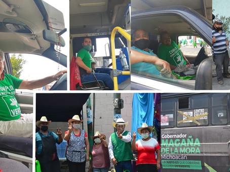 Transportistas, comerciantes y ciudadanía en general se suman al Partido Verde en el distrito 11