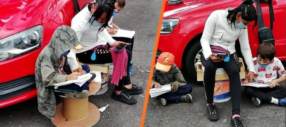 Mamá franelera ayuda a sus hijitos a estudiar usando internet de la calle en la CDMX